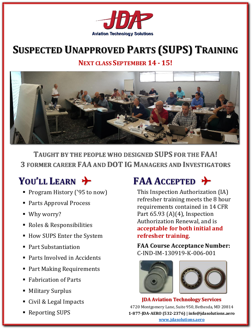 Suspected Unapproved Parts (SUPS) Course