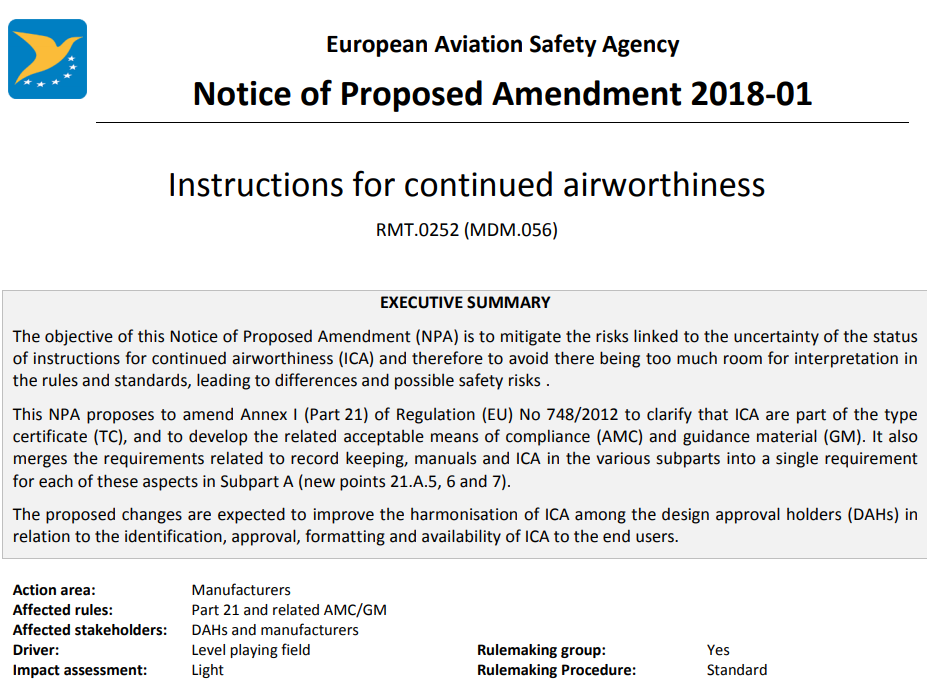 EASA\'s tightening of Product Cert Rule ? | JDA Journal